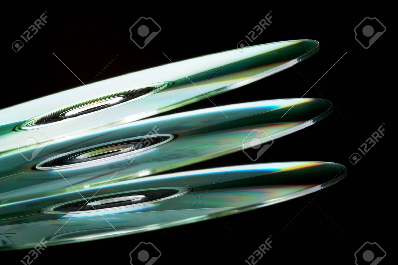 Abstract Stack of DVD - isolated on black background Stock Photo - 802105