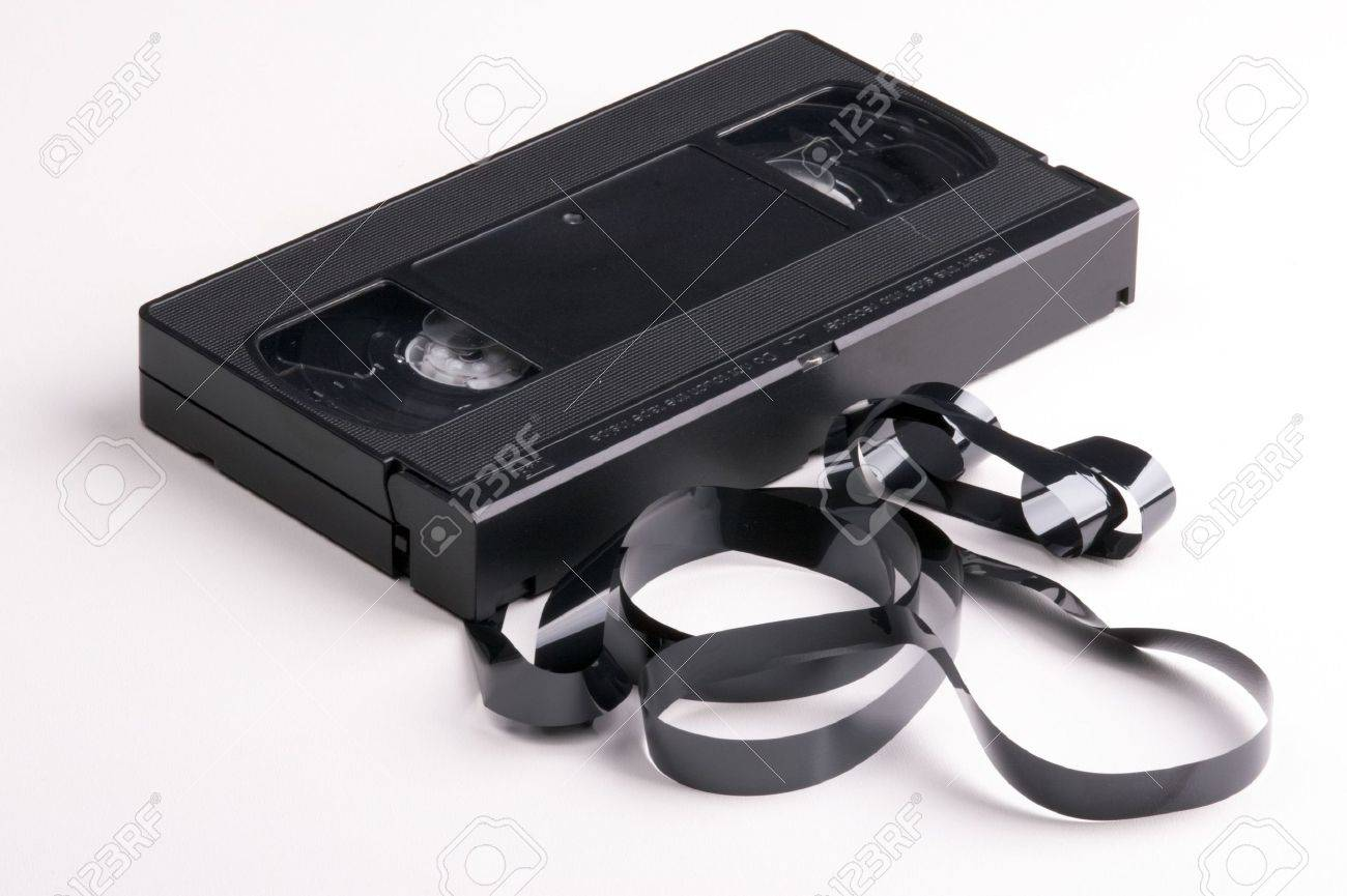 broken video cassette on white background Stock Photo - 802109