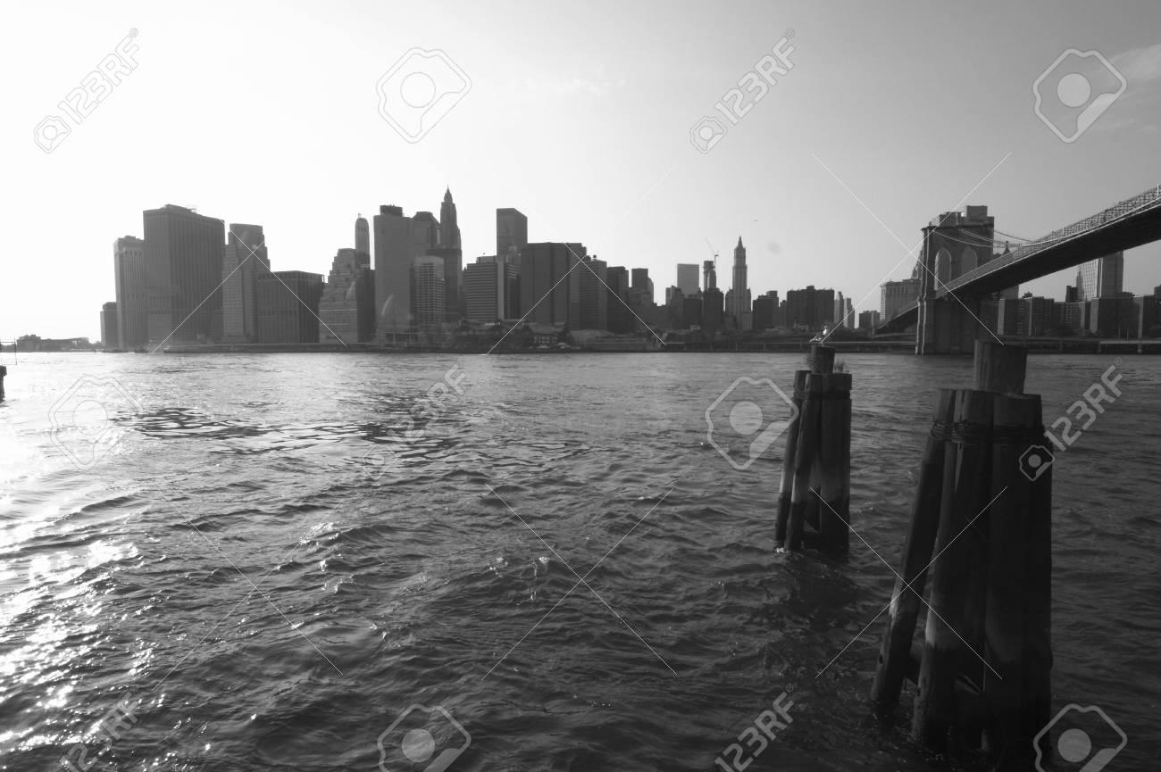 skyline of manhattan, new york with Brooklyn Bridge Stock Photo - 809983