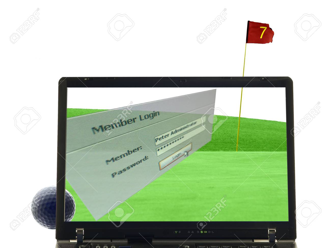 laptop isolated with putting green, golfball and flag in background, Member login window in front Stock Photo - 829501