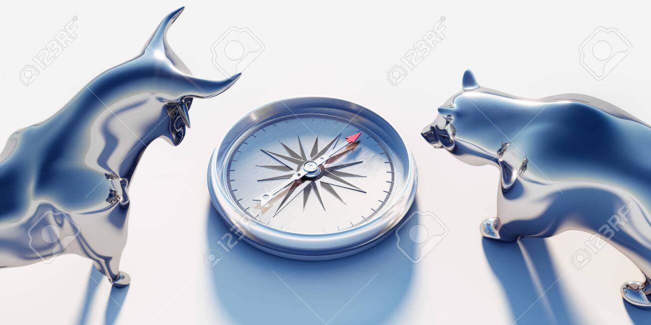Silver bull and bear looking on compass - 125507801