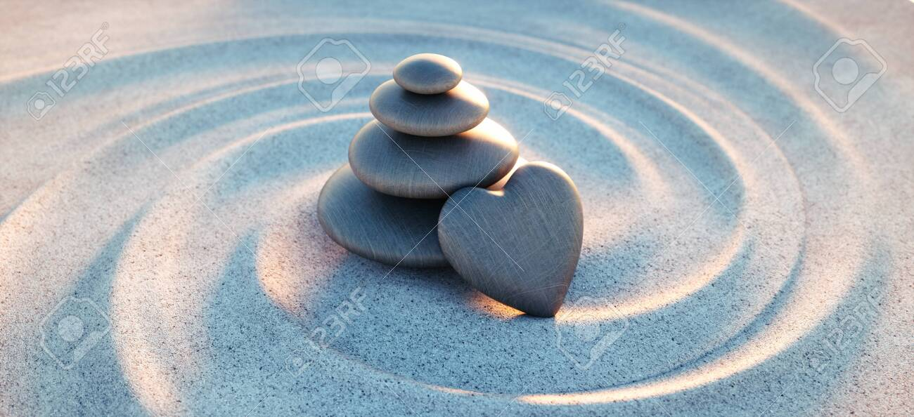 Pebble tower with pebbles in heart shape - 125507987