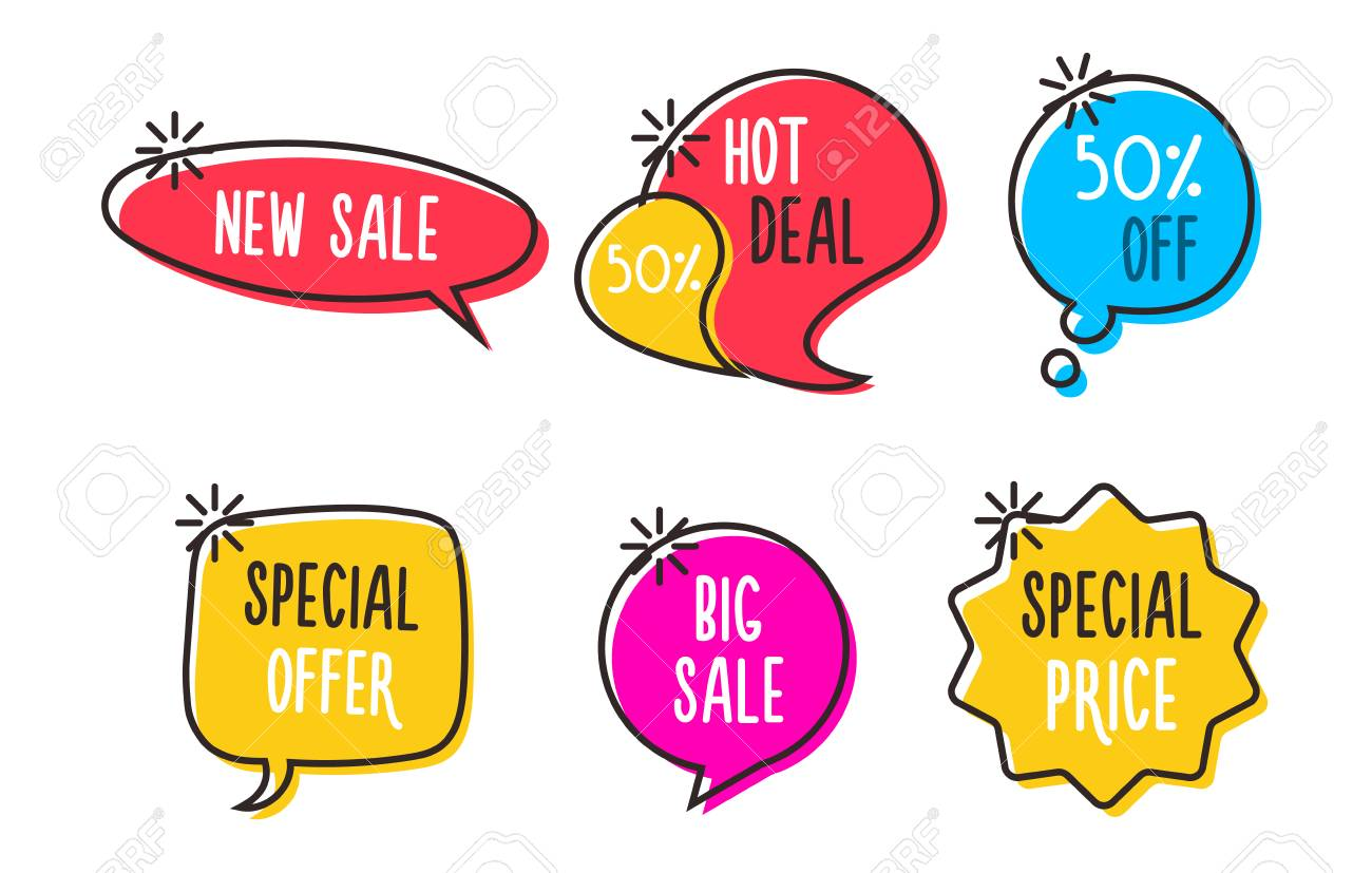 Sale labels, tags, speech bubbles, banners, logos, icons. Hand drawn doodle vector design - 82586919