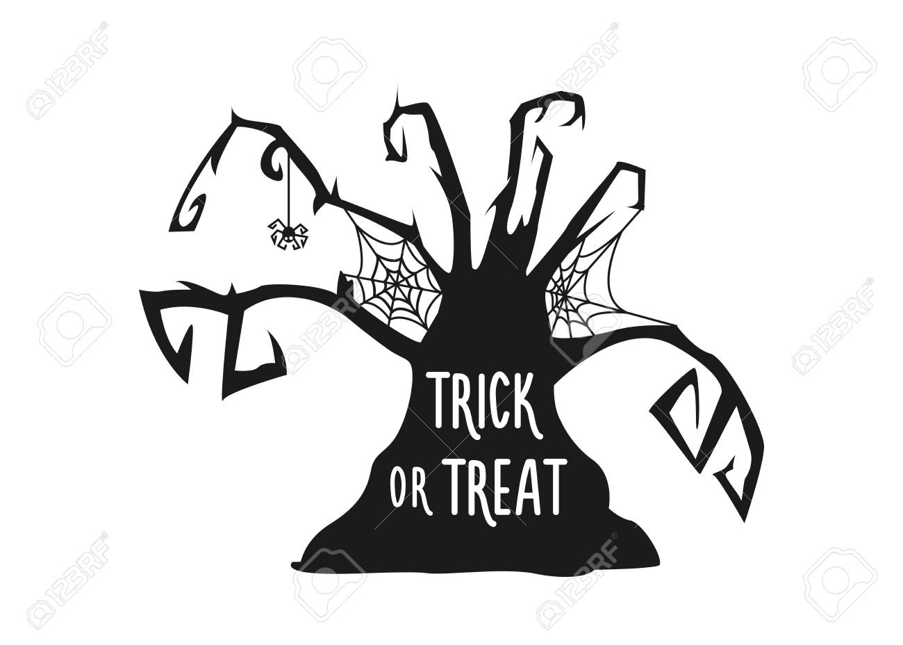 Halloween Trick Or Treat Silhouette.Scary Haunted Tree Silhouette With Trick Or Treat Halloween Lettering