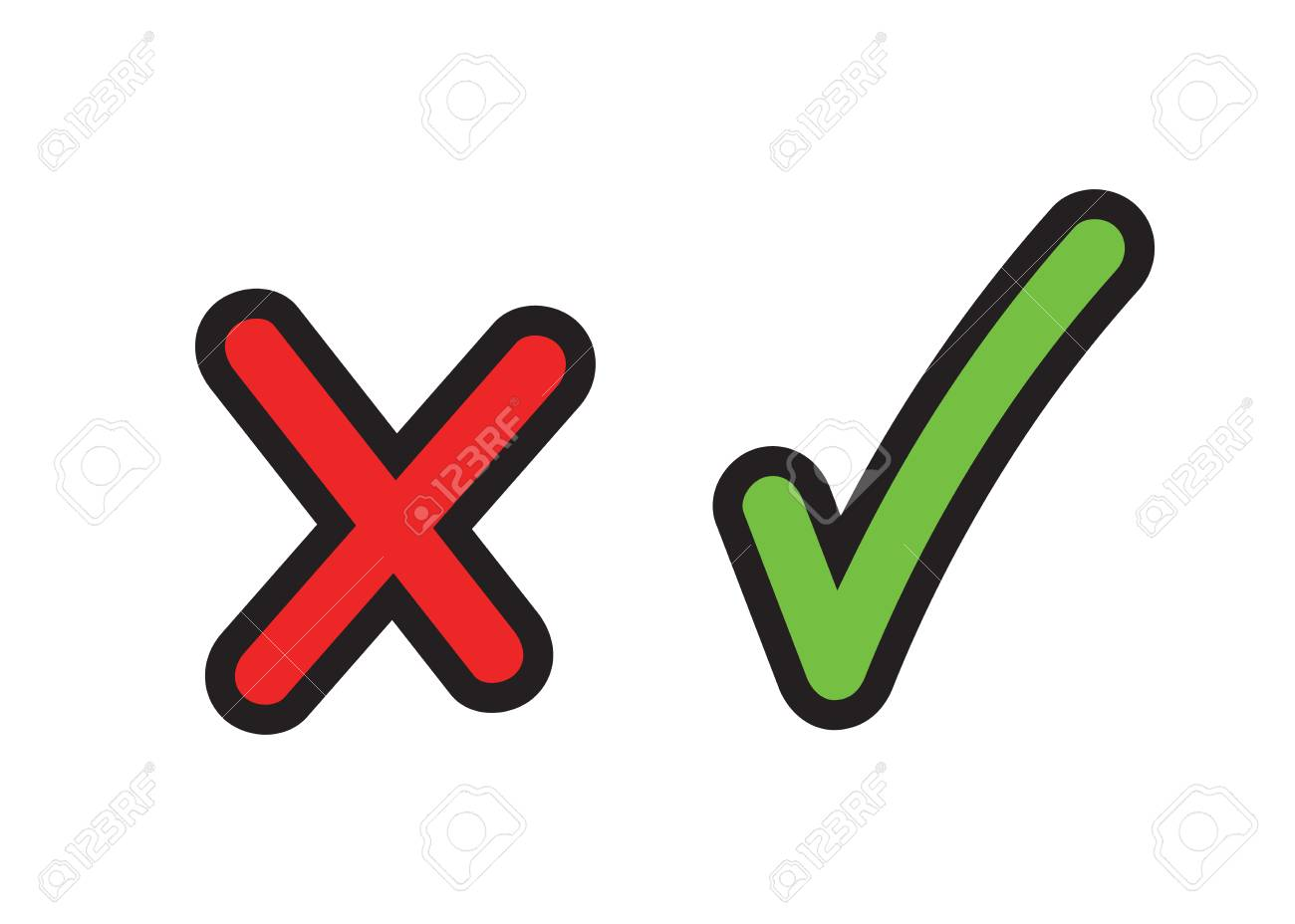 Tick and cross signs; Checkmark icons in cartoon illustration. - 88293598