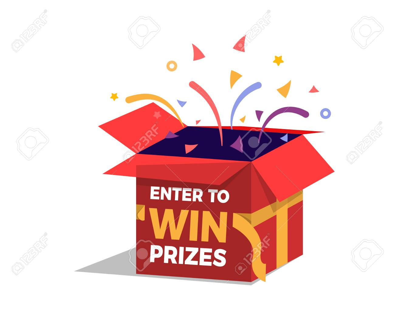 Prize box opening and exploding with fireworks and confetti. Enter to win prizes design. Vector illustration - 97100470
