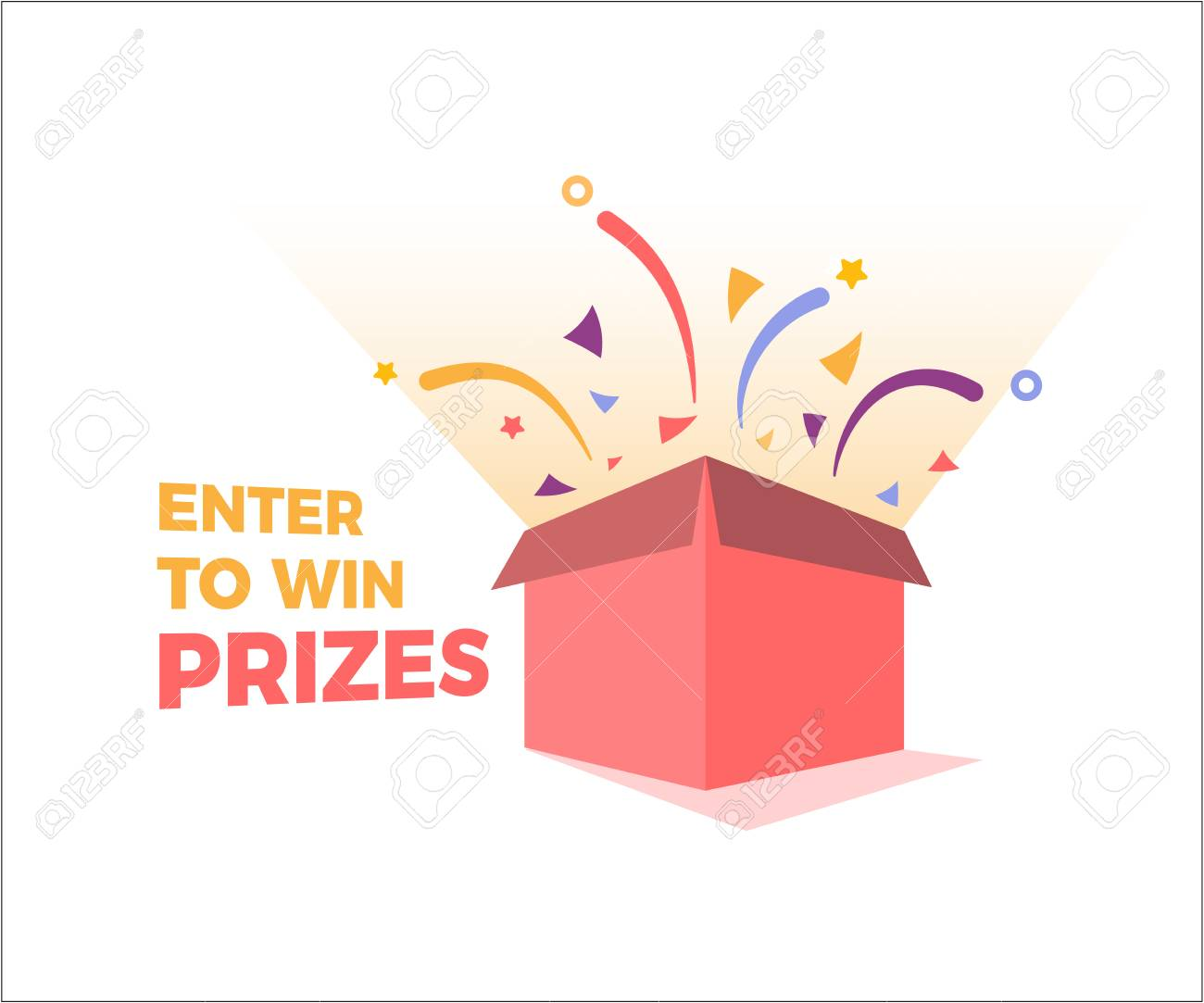 Prize box opening and exploding with fireworks and confetti. Enter to win prizes design. Vector illustration - 97100472