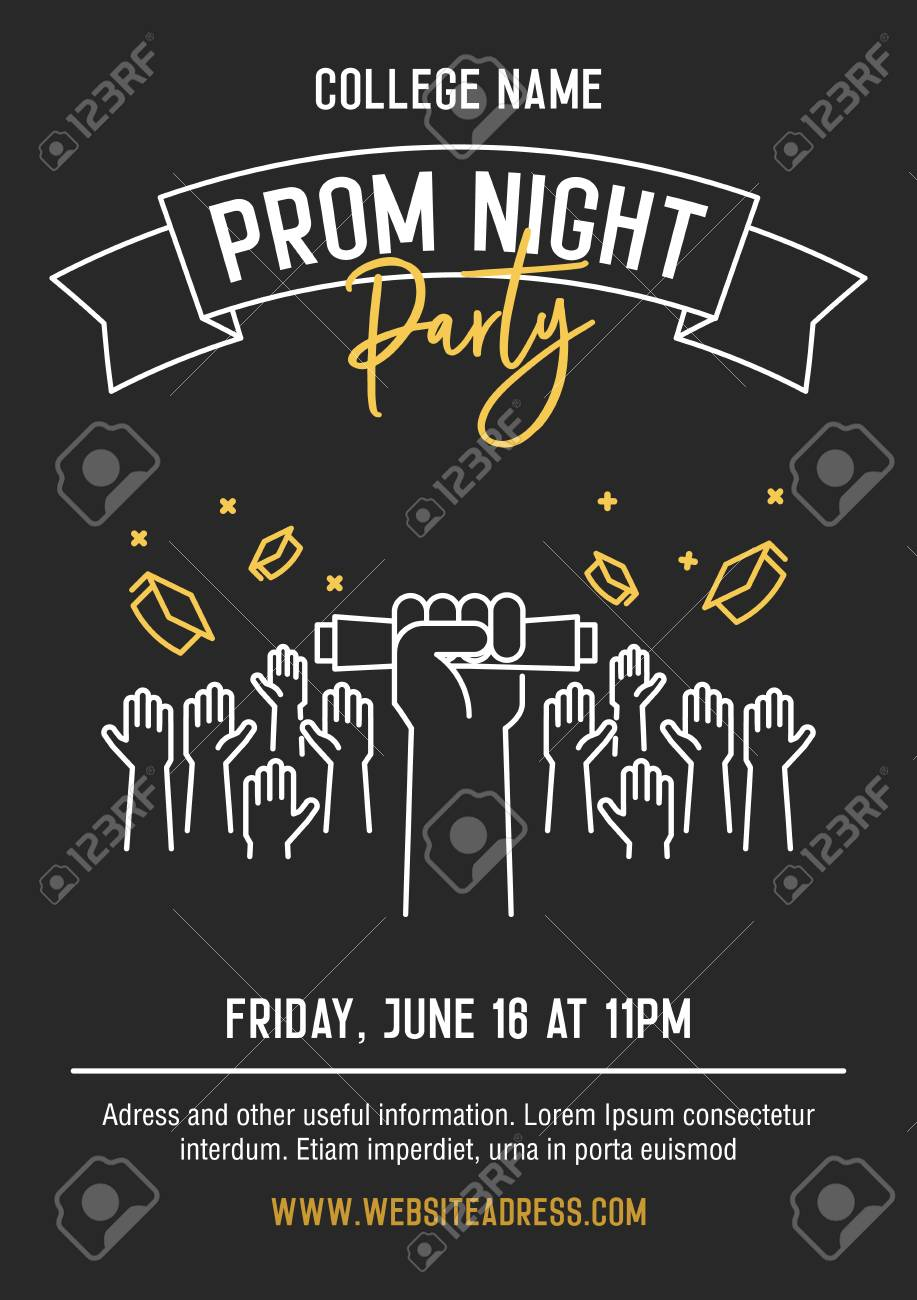 Prom Night Party Invitation Card With Hands Raised Throwing Academic