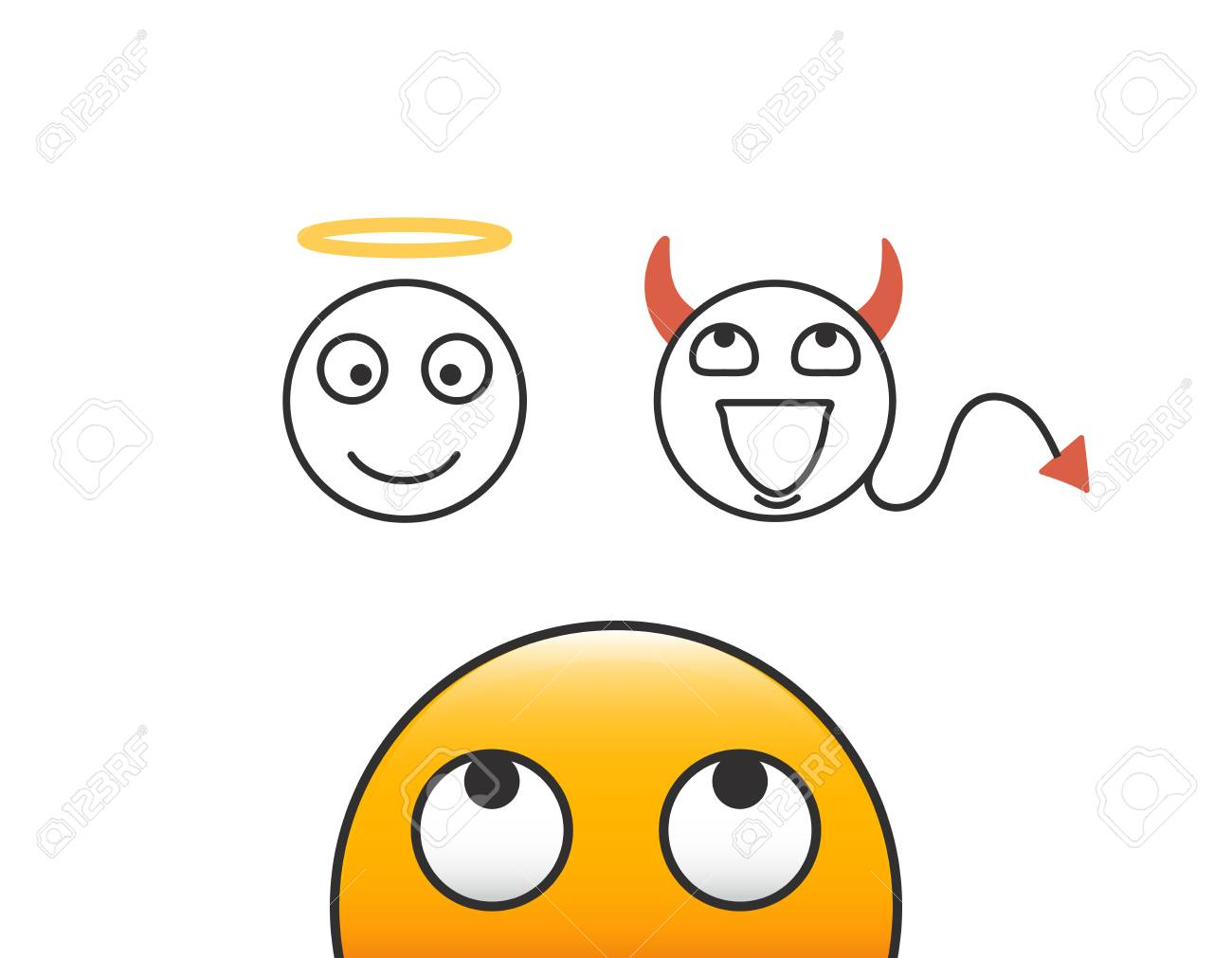 Good and evil concept. Emoticon character person looking at his conscience. Deciding between the good and the bad choice. Vector illustration with transparent background - 102331201