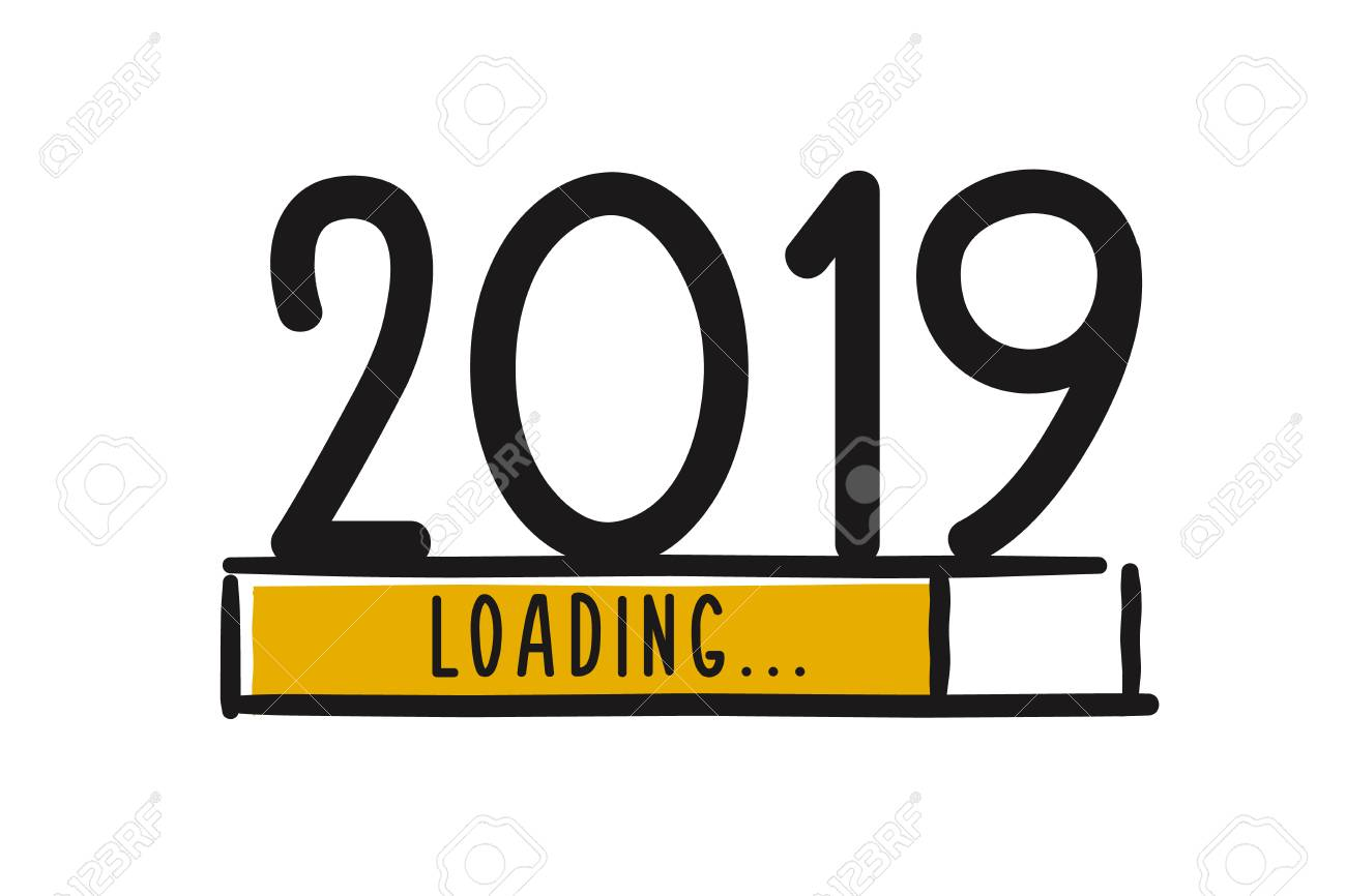 Doodle new year download screen. Progress bar almost reaching new year's eve. Vector illustration with 2019 loading - 110259341