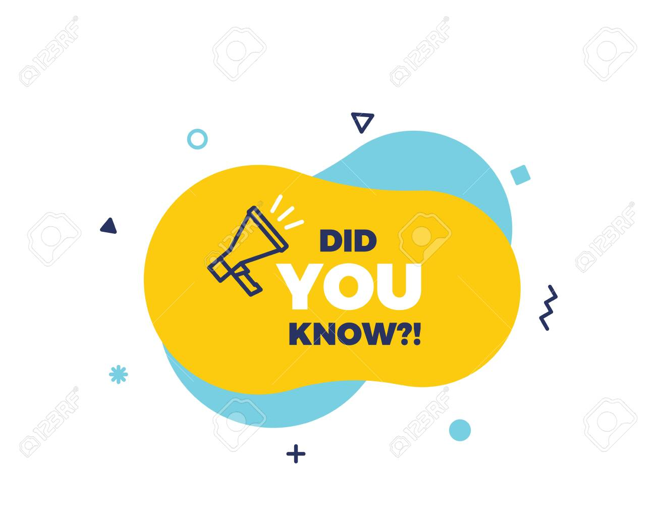 Did you know text on a fluid trendy shape with geometric elements and a megaphone. Vector design banner isolated for curiosity, knowledge, quiz games, trivia and other concepts - 126332869