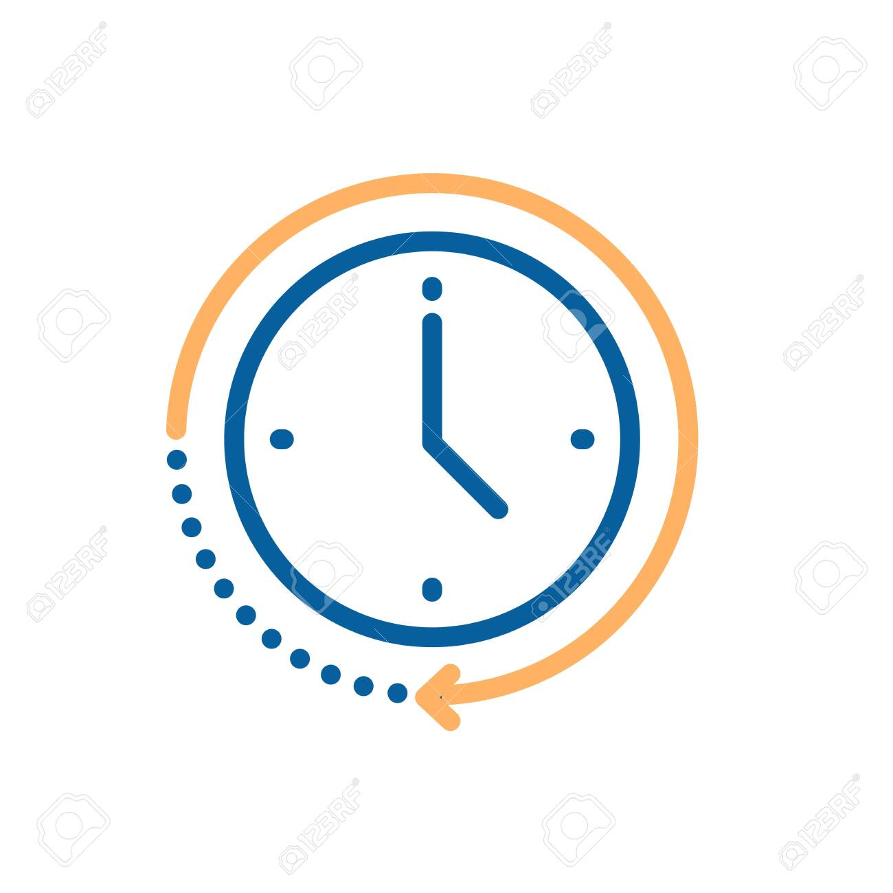 Clock icon with circular motion shape with arrow indicating passage of time. Vector illustration for concepts of time, progress, deadline, express delivery, time limit, urgency - 126216872