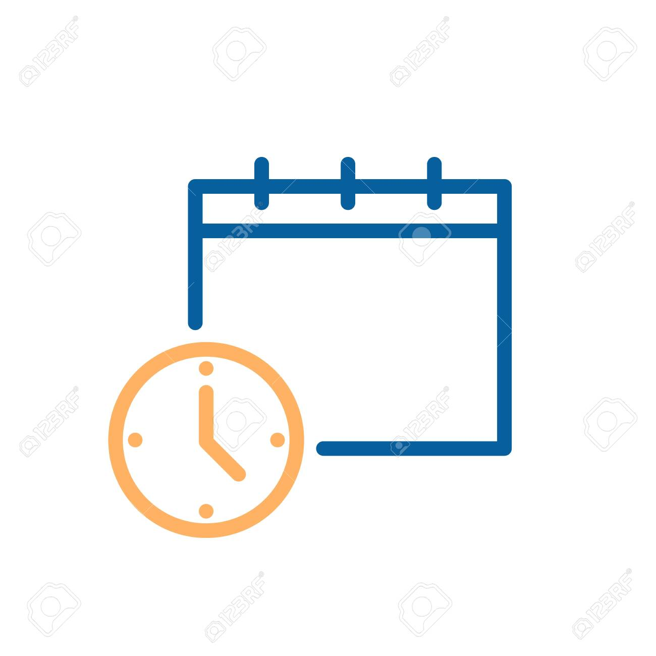 Clock and calendar simple icon. Vector illustration for business, schedule, office, routine, delivery days, deadline etc - 126216873