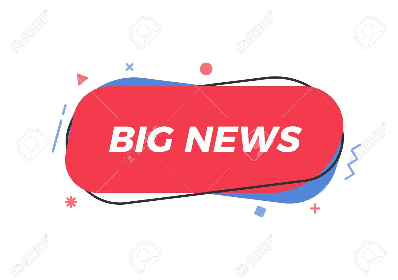 Big News text in trendy geometric shape. Vector element for announcements, breaking news, newspaper, television, social media, business, marketing, promotions - 126216883