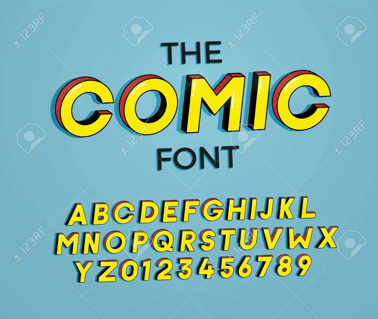 The Comic font. Vector illustration 3d design. Letters and numbers design with super heroes comic book effect - 126246420