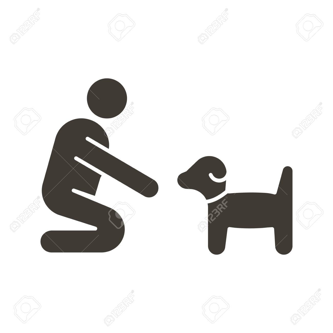 Person with small dog or puppy icon. Vector flat glyph illustration. Can fit different concepts. Pet training, adoption, helping abandoned animal, feeding, love between owner and dog. - 134503193
