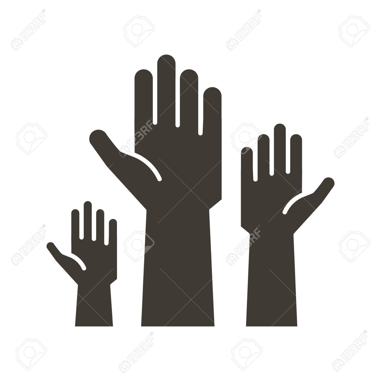 Volunteers and charity work. Raised helping hands. Vector flat glyph icon illustrations with a crowd of people ready and available to help and contribute. Positive foundation, business, service. - 134503195