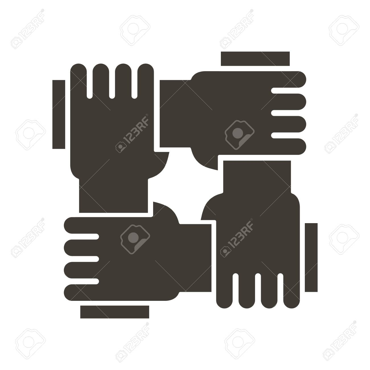 Stylized icon design with 4 hands holding together. Illustration for different concepts like teamwork, community, unity and equality - 134503196