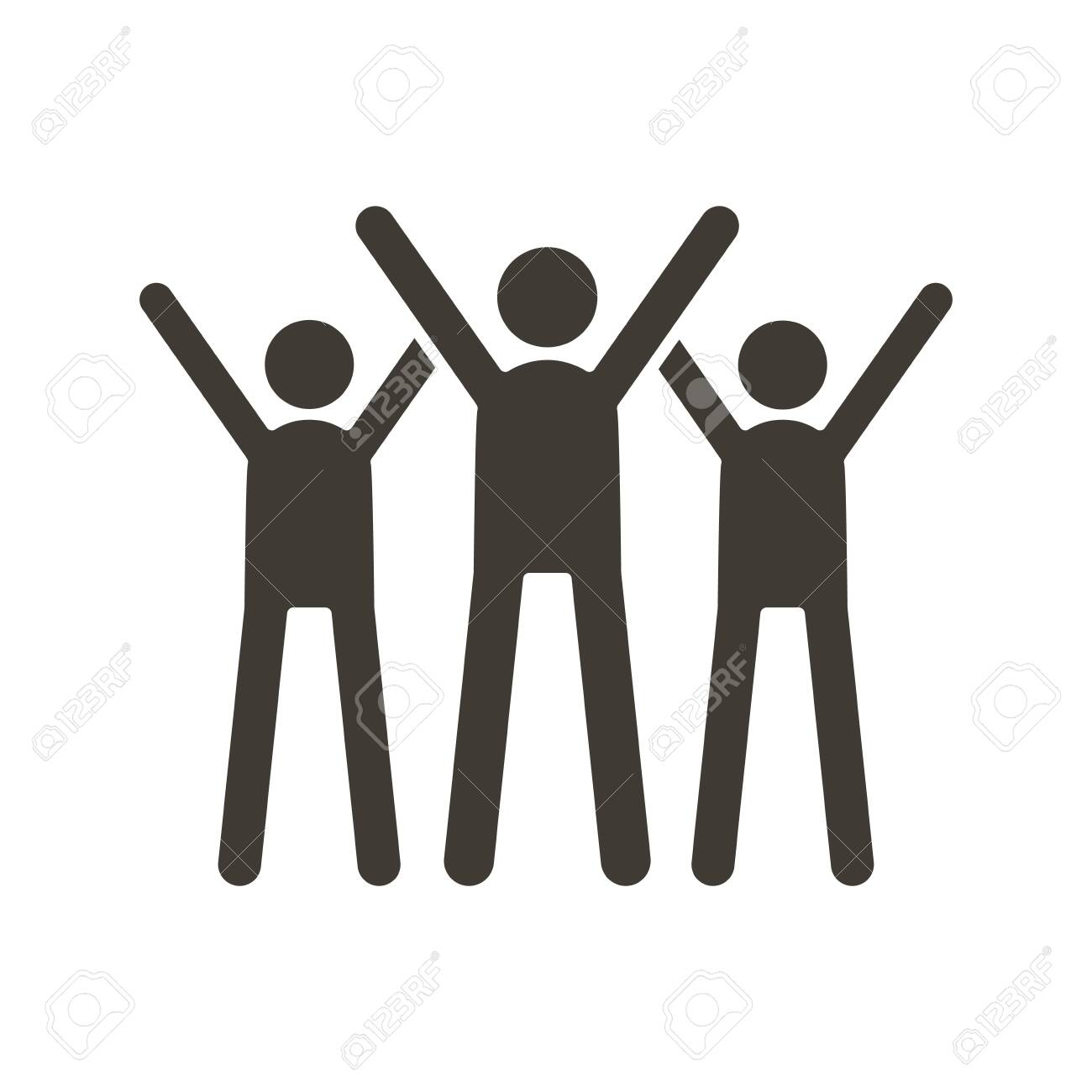 Group of people celebrating. Vector trendy flat glyph icon illustration design. Teamwork success, business partnership strategy, charity volunteers. - 134503199