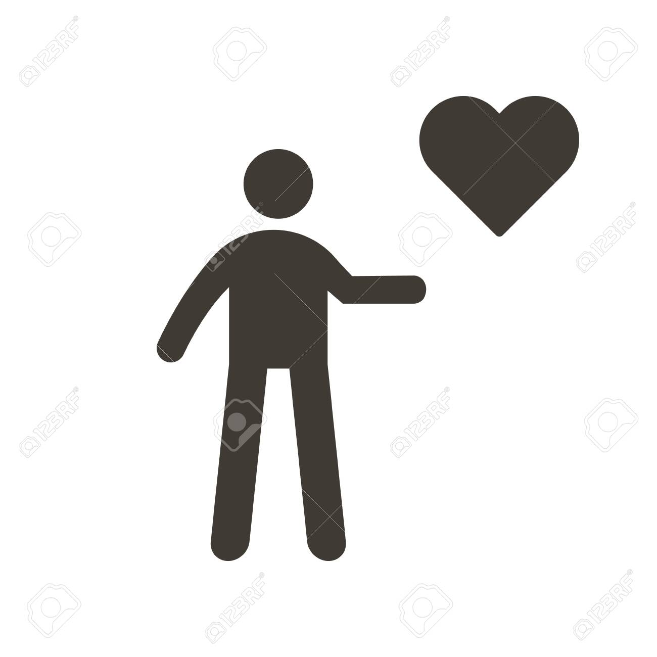 Person holding heart icon. Vector flat glyph illustration. Helping, volunteering, donation, charity, humanitarian, medical, love and happiness concepts. - 134503202