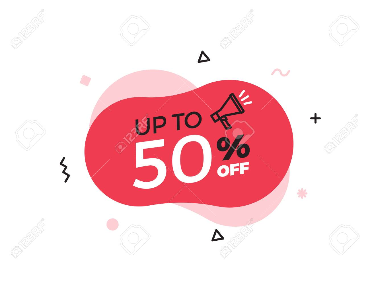 Modern abstract vector banner with up to 50% offer special sale text. 50 percent price discount. Red shape graphic design element for advertising campaigns. Vector illustration with geometric shapes and megaphone icon - 134503203