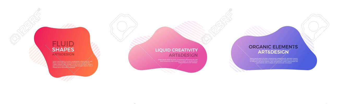 Set of trendy colorful and glowy fluid shapes. Vector geometric template liquid form elements in different colors. Modern abstract banner design - 134503207