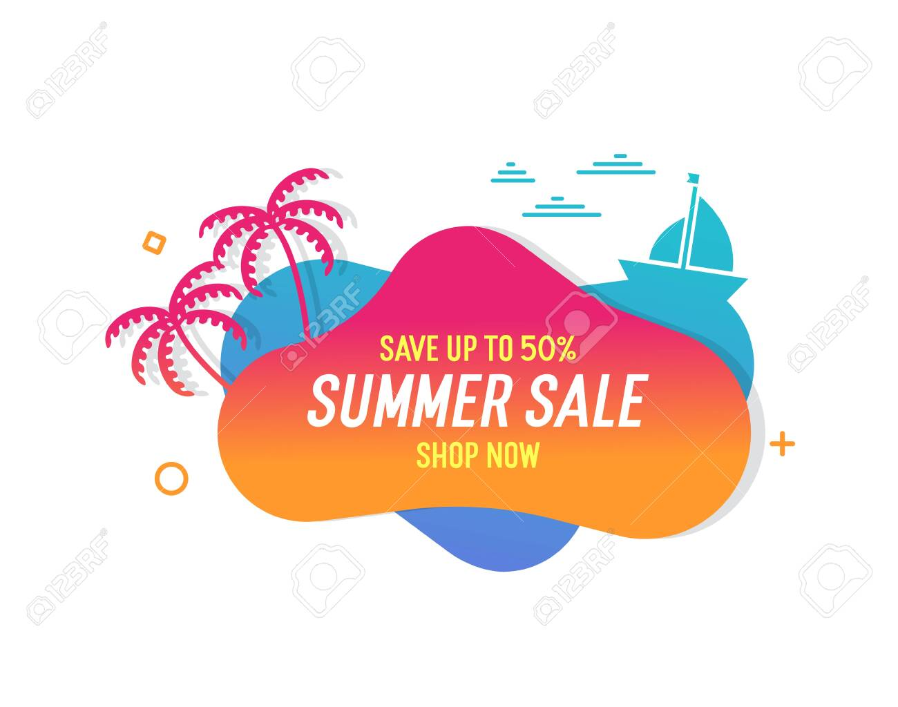 Trendy colorful summer sale banner with palmtrees, boat and waves.. Vector geometric template liquid and wavy shapes with gradient colors. Modern abstract tropical and seasonal banner design - 134503208