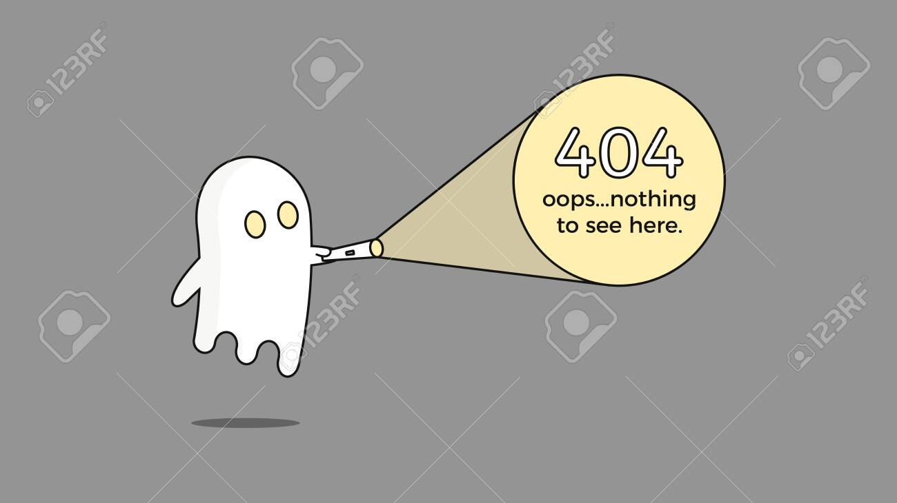 Illustration for 404 error. Vector webpage template concept for Page not found problem. Creative character design with a ghost and flashlight - 134503210