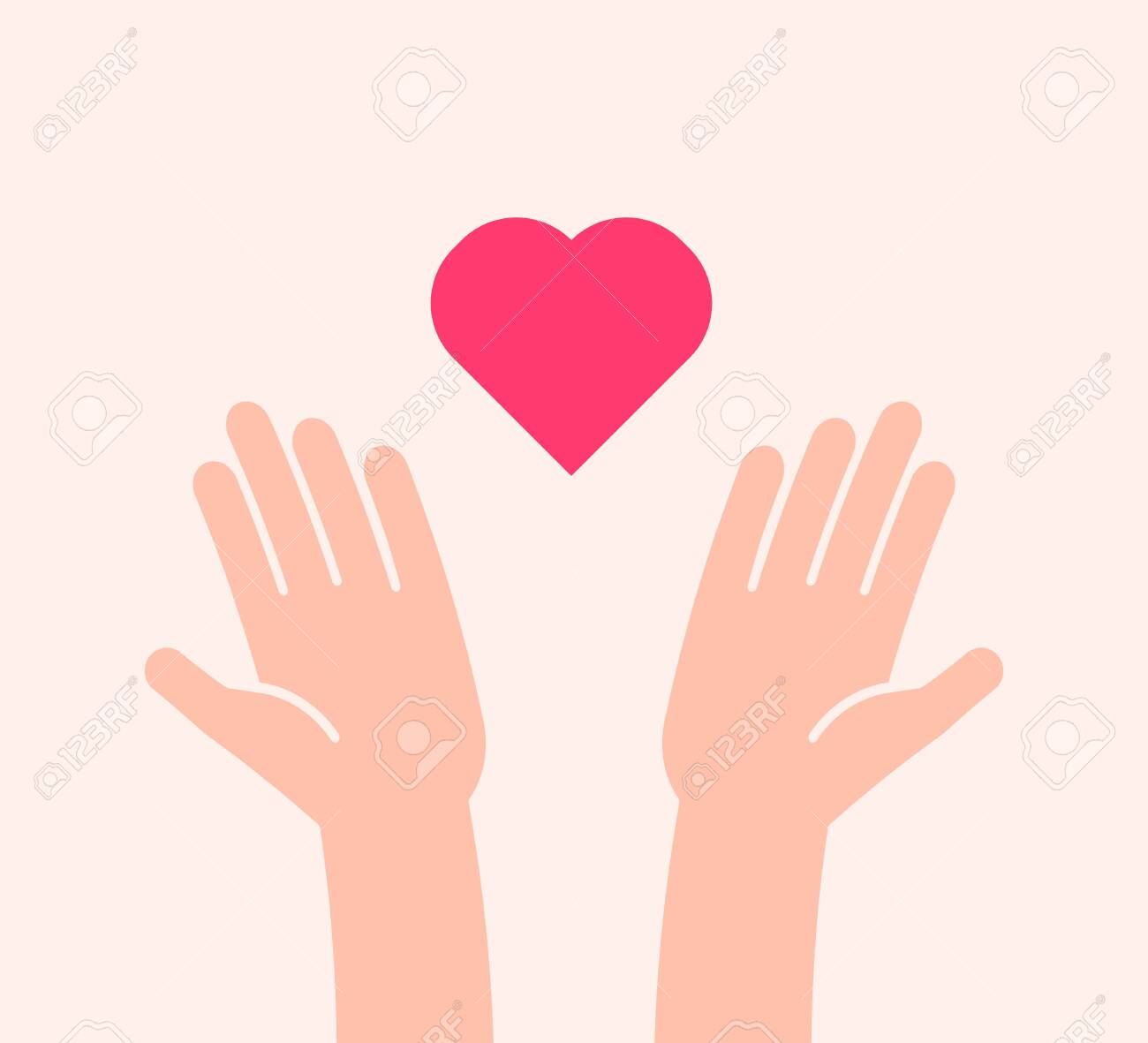 Flat background with two hands receiving or sending heart icon. Vector illustration for charity, help, supporting, work of volunteers, donation, love and kindness - 134503211