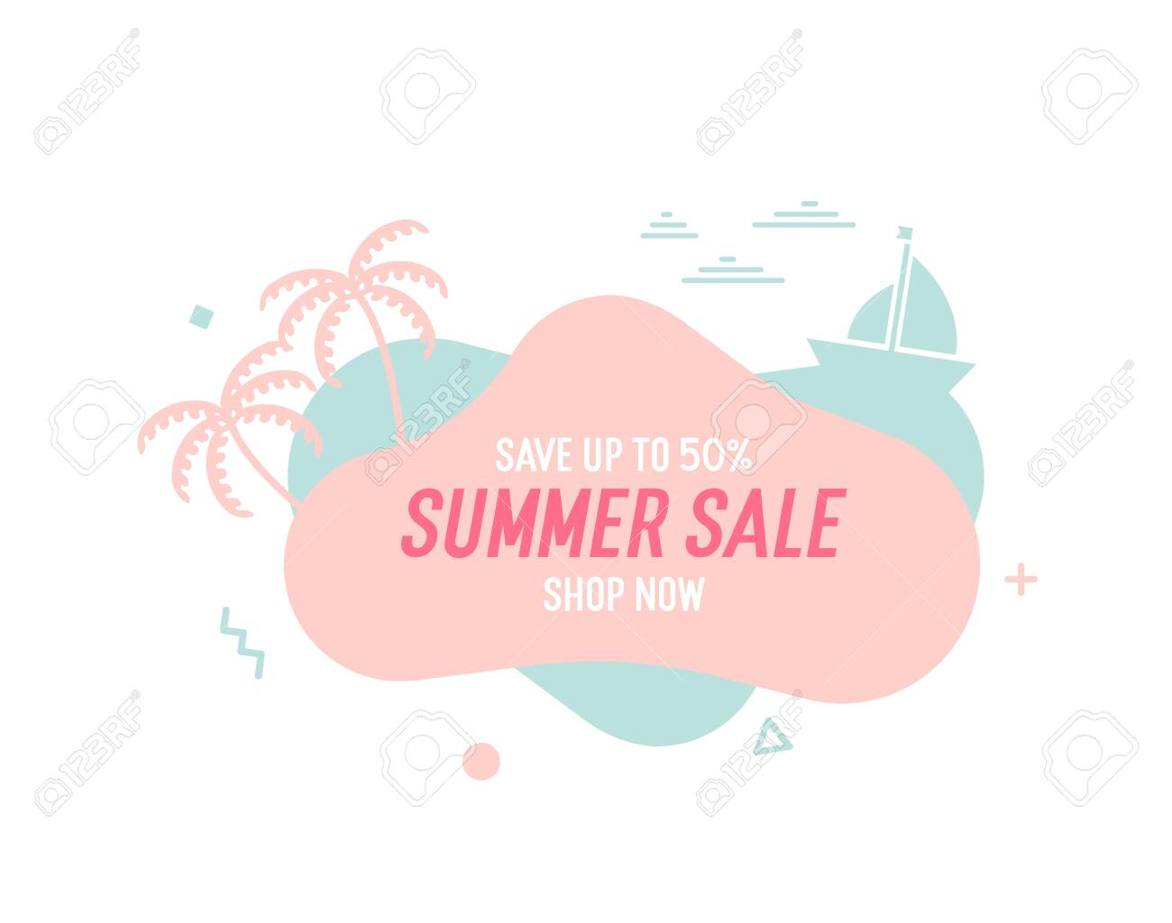 Trendy colorful summer sale banner with palmtrees, boat and waves.. Vector geometric template liquid and wavy shapes with smooth colors. Modern abstract tropical and seasonal banner design - 134503214