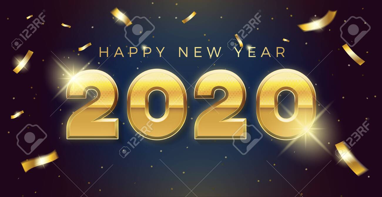 Vector Happy new year 2020 background with golden 3d text and explosion of conffeti. For seasonal holiday web banners, flyers and festive posters - 134503217