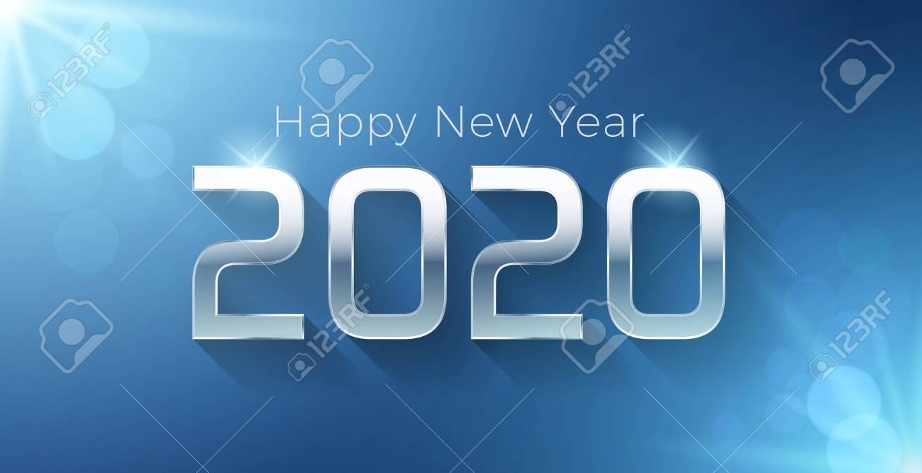 Vector Happy new year 2020 illustration with silver 3d text on a blue background. For seasonal holiday greetings web banners, flyers and festive posters - 134503220