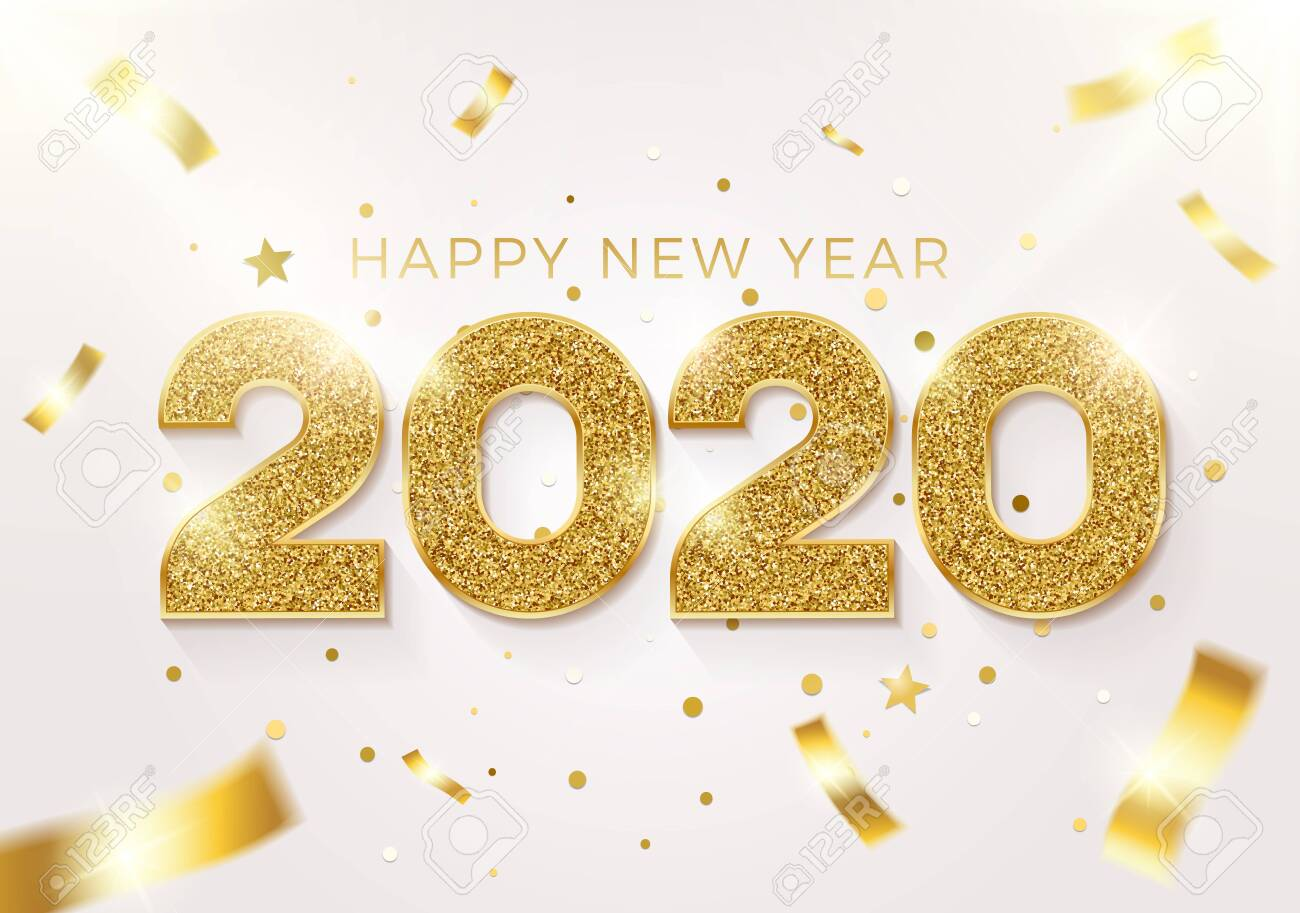 Happy new year 2020 background. Vector realistic illustration with golden glitter text on a background with conffeti falling. Greeting card, poster and banner design - 134503221