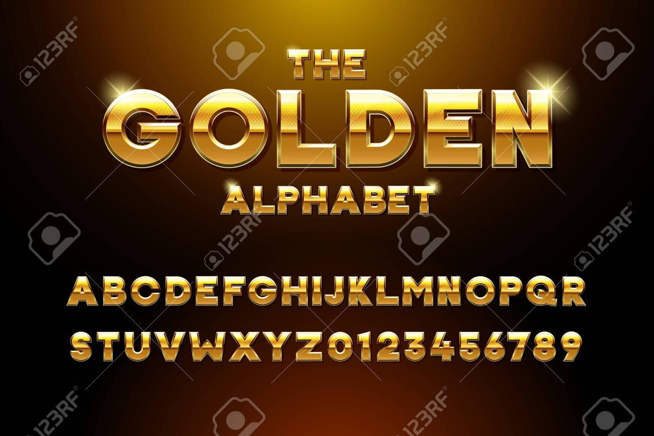 Vector golden glossy three dimensional font effect. Yellow metal typeface withy golden bars and stars inside. Luxury alphabet design for casino, premium business, videogames and other concepts - 134503222