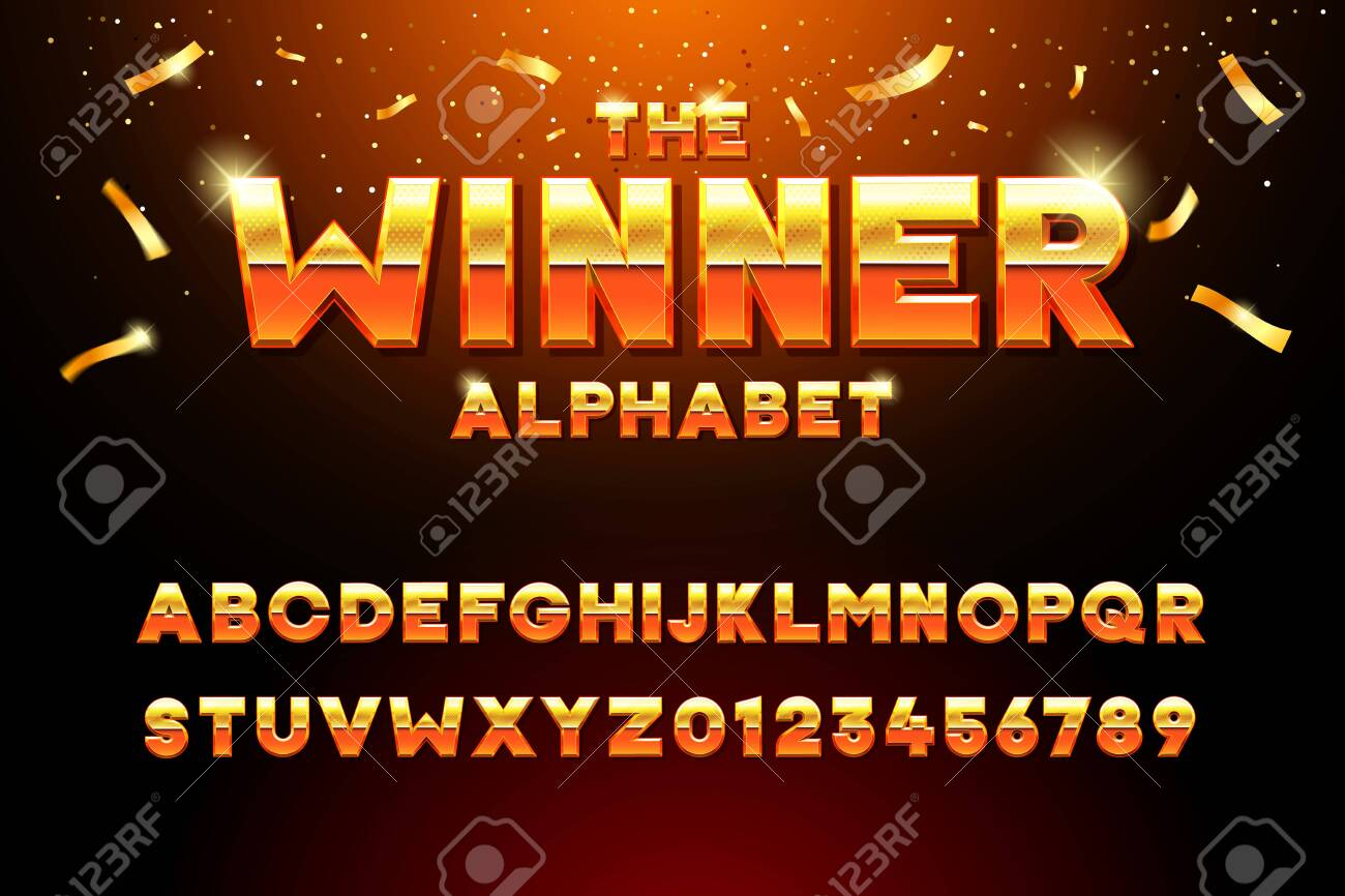 The Winner Alphabet. Vector golden glossy three dimensional font effect in orange and yellow. Metal typeface withy golden bars and stars inside. Luxury alphabet design for casino, premium business, videogames and other concepts - 134503223
