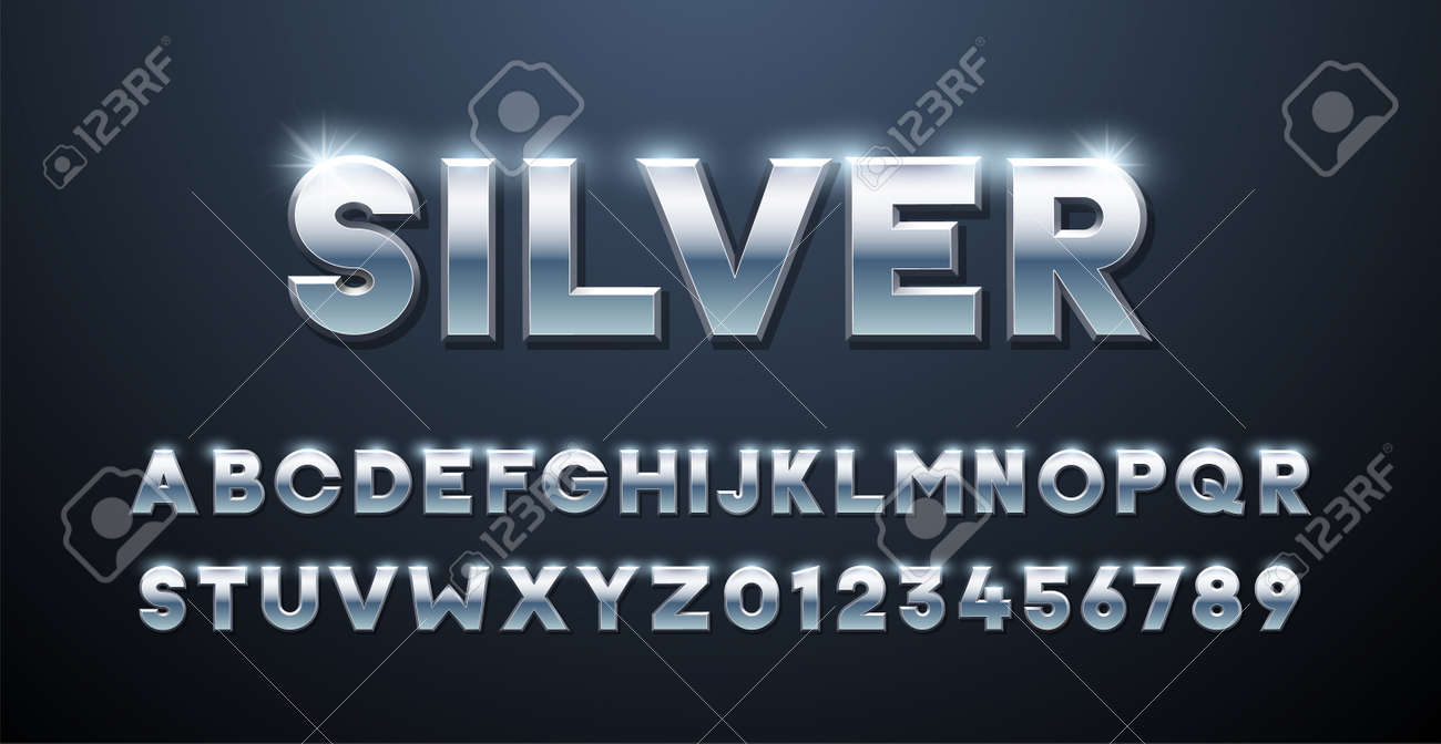 Silver Alphabet. Metallic font 3d effect typographic elements. Mettalic stainless steel three dimensional typeface effect - 158456256