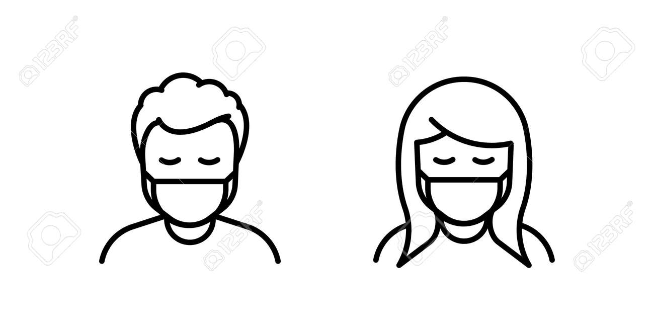 Man and Woman in medical face protection mask. Vector icon of depressed and tired people wearing protective surgical mask. illustration for concepts of disease, sickness, coronavirus, quarantine, social distancing - 158456307