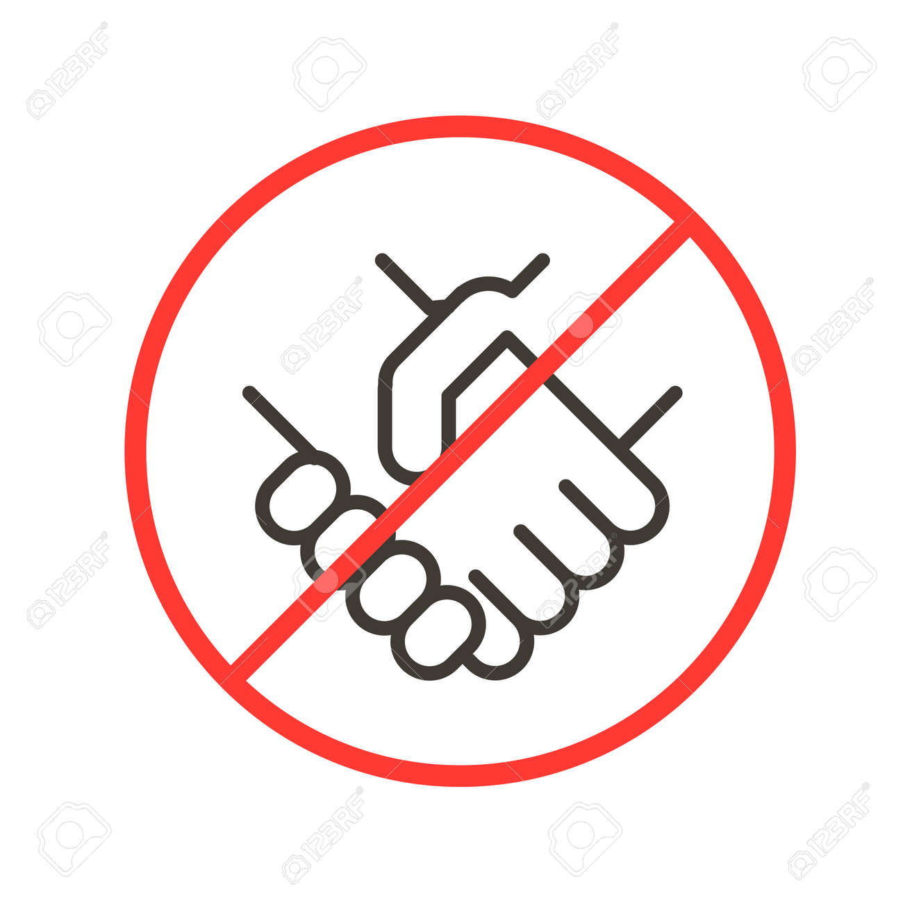 Avoiding physical contact. Vector thin line icon illustration with forbidden handshake symbols. Social distancing and safety tips for pandemics like covid-19 coronavirus outbreak - 158456309