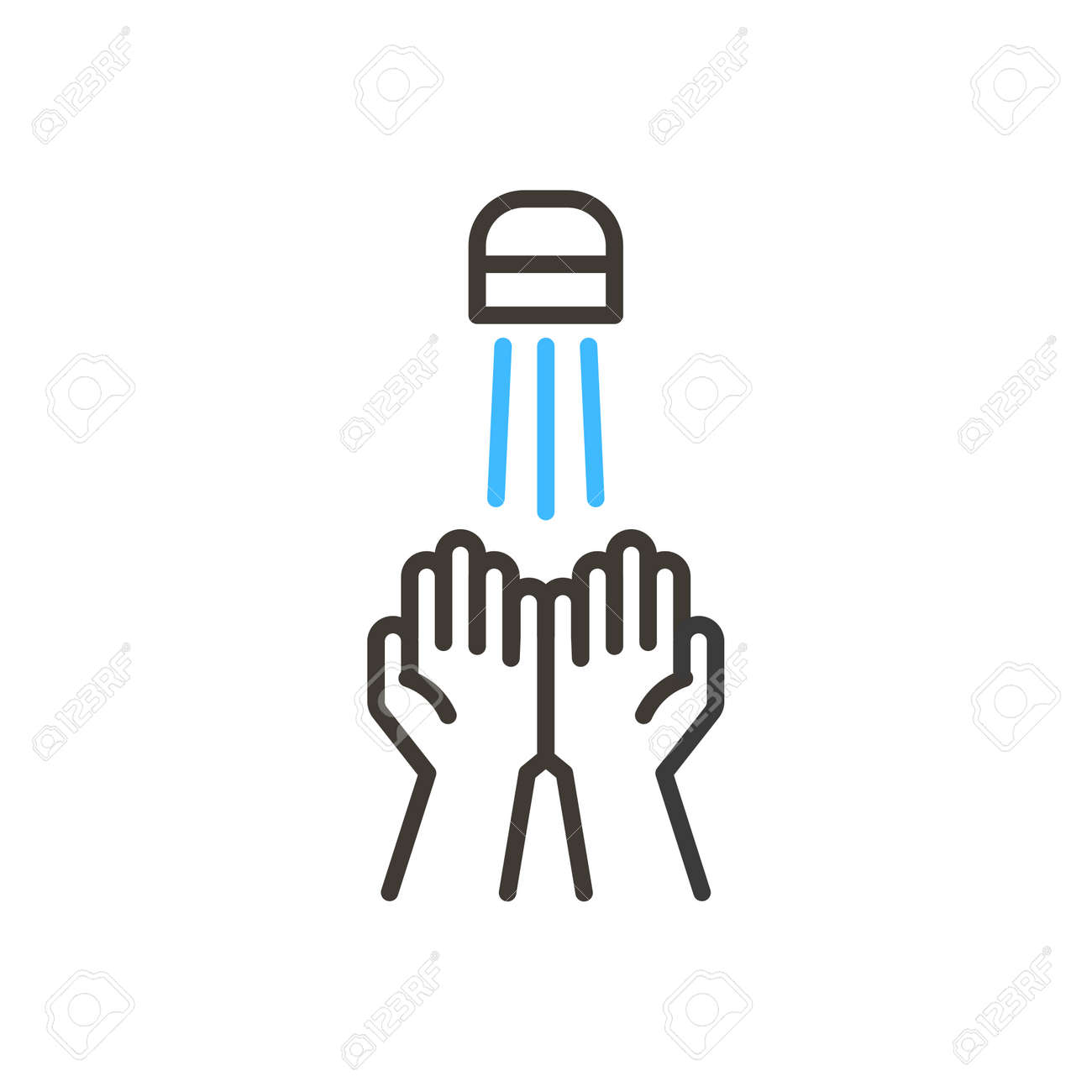Coronavirus covid-19 prevention hand washing illustration. Vector thin line icon with hands sanitizing with water and soap. Simple design for antibacterial and protection from infection awareness - 158456314