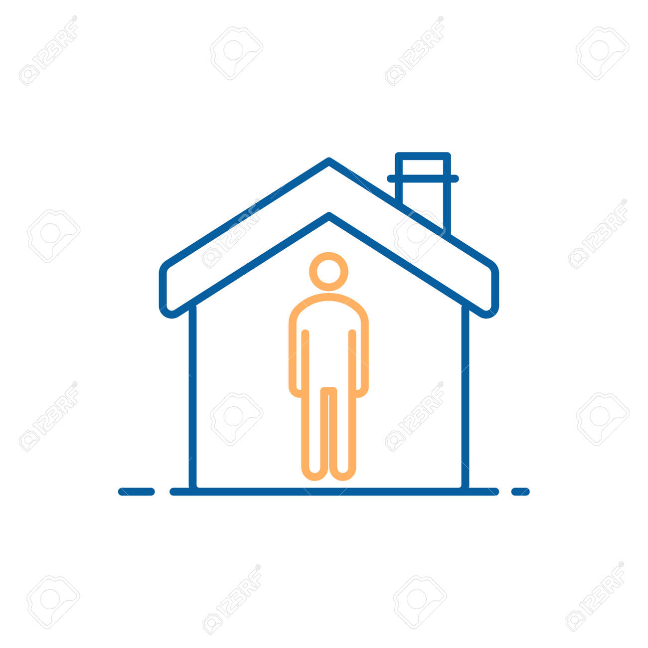 social distancing icon. Vector thin line illustration for concepts of distance keep in public for protection in pandemics like covid-19 coronavirus outbreak. Not allowing outbreak virus spreading. Person at home social isolating - 158456316