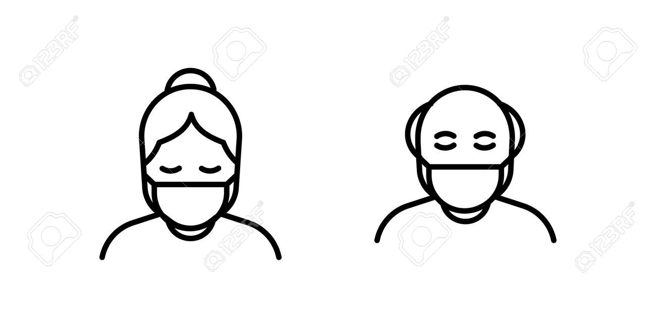 Old man and woman in medical face protection mask. Vector icon of higher risk vulnerable people wearing protective surgical mask. illustration for concepts of disease, sickness, coronavirus, quarantine, social distancing - 158456420