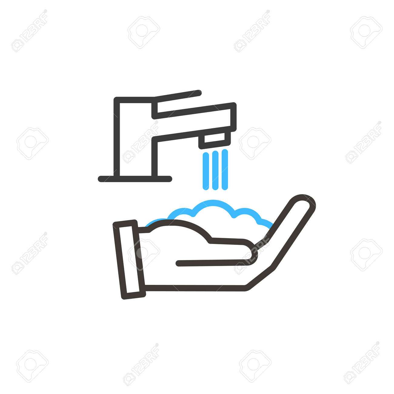 Coronavirus covid-19 prevention hand washing illustration. Vector thin line icon with hands sanitizing with water and soap. Simple design for antibacterial and protection from infection awareness - 158456421