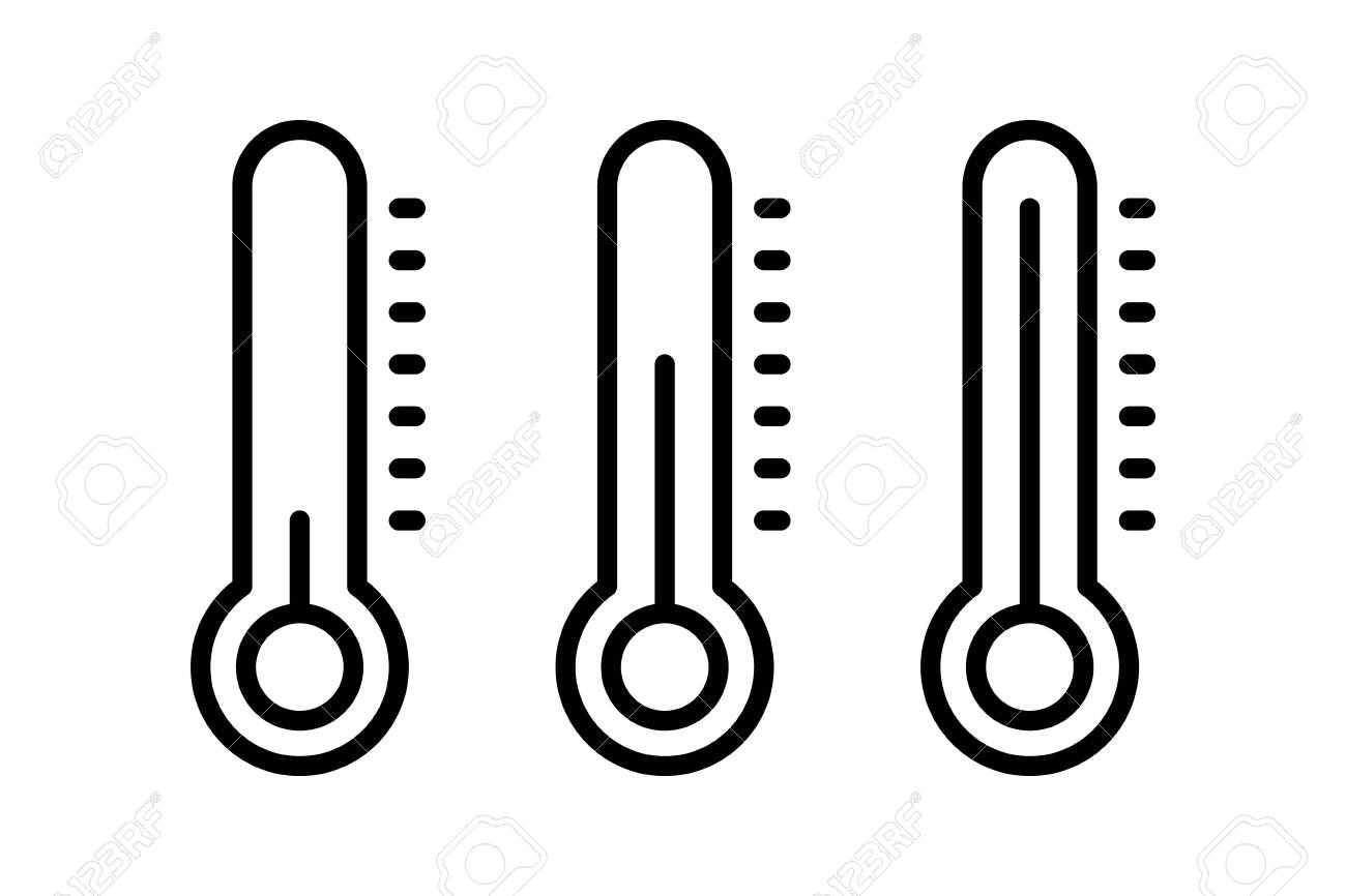 Thermometer thin line vector icon illustration infographics. For concepts of healthcare, weather and other measuring subjects. Cold and warm. Flu, virus. Warm or freezing day - 158456425