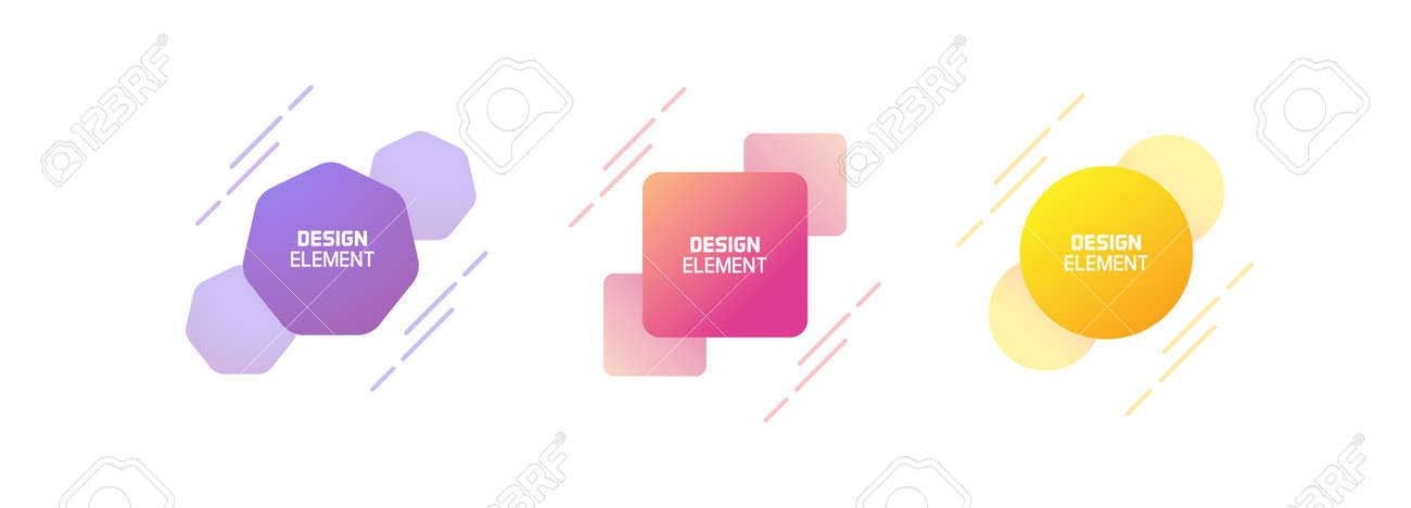 Set of trendy colorful and glowy dynamic shapes. Vector geometric template elements with dynamic lines in different colors. Modern abstract banner design - 158456427