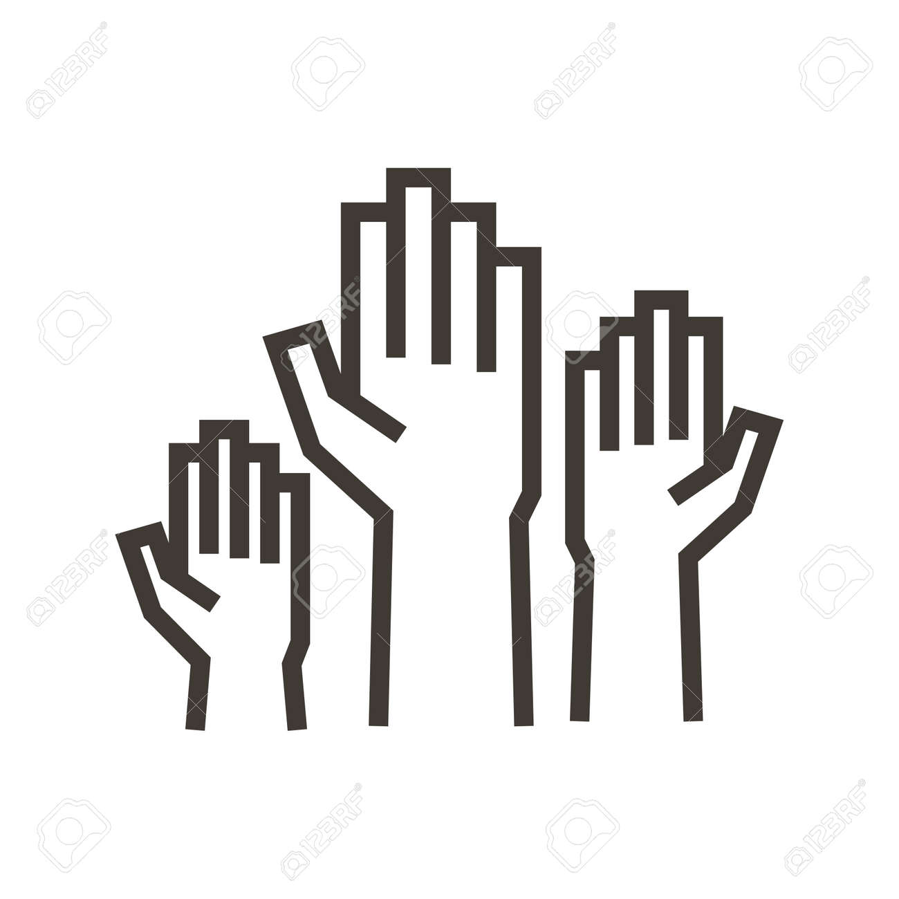 Volunteers and charity work. Raised helping hands. Vector thin line icon illustrations with a crowd of people ready and available to help and contribute. - 158456428