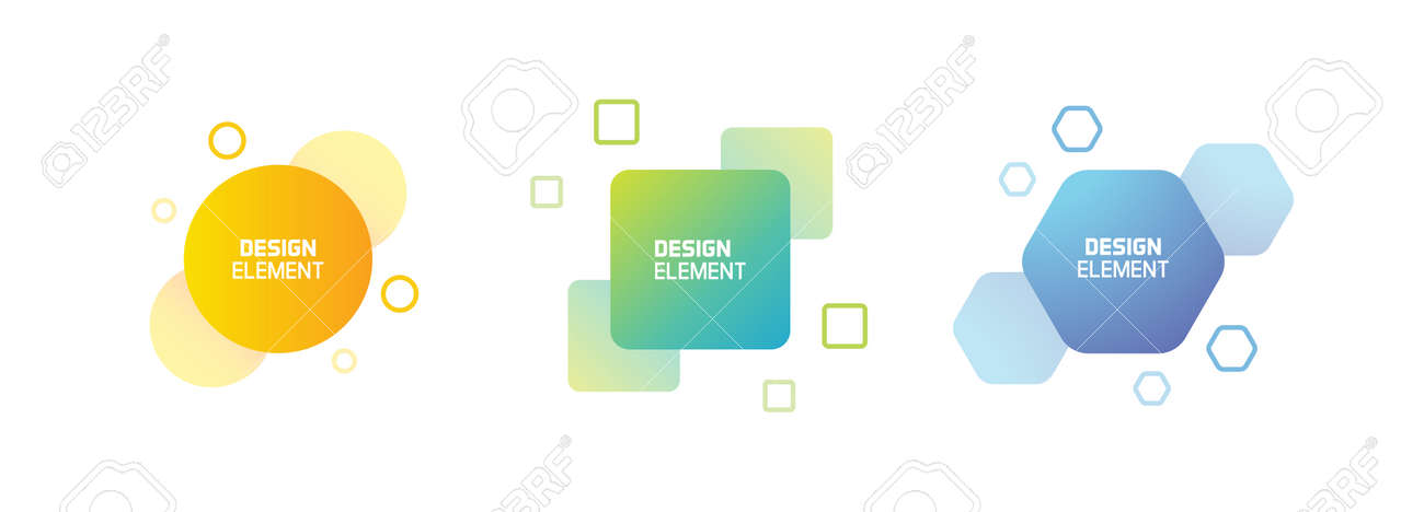 Set of trendy colorful and glowy fluid shapes. Vector geometric template liquid form elements in different colors. Modern abstract banner design in square, circle and hexagon form - 158456430