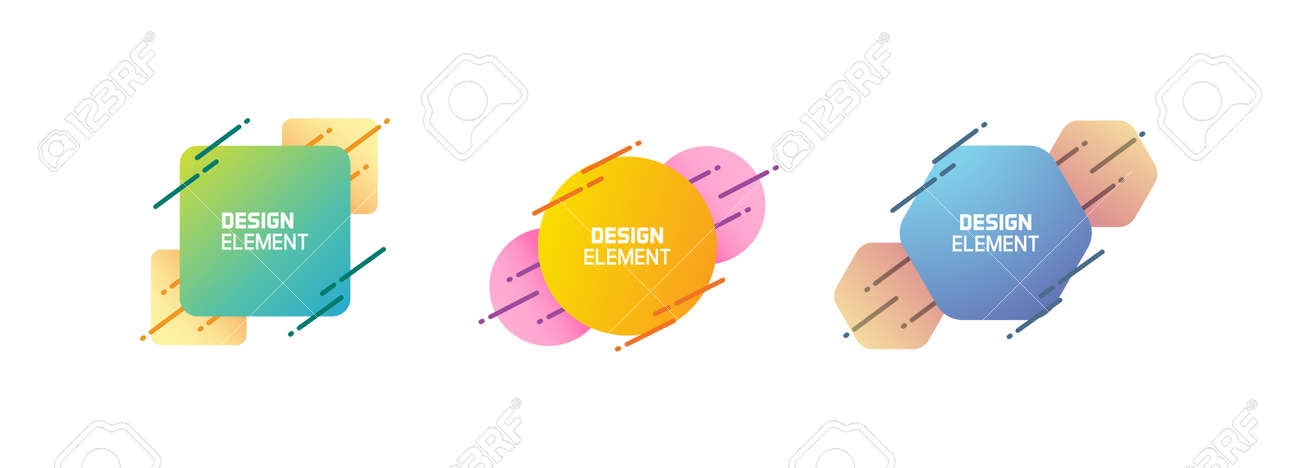 Set of trendy colorful and glowy dynamic shapes. Vector geometric template elements with dynamic lines in different colors. Modern abstract banner design - 158456431
