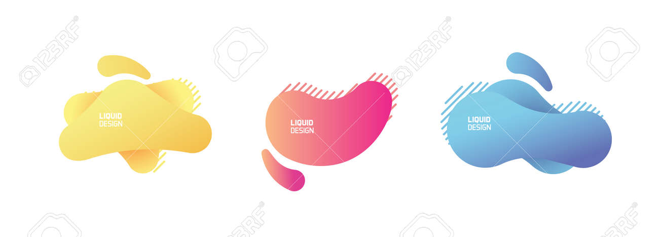 Set of modern organic and colorful shapes. Fluid vector trendy and glowy elements. Template graphics with geometric speech bubbles and banners with frames to put your own text - 158456435