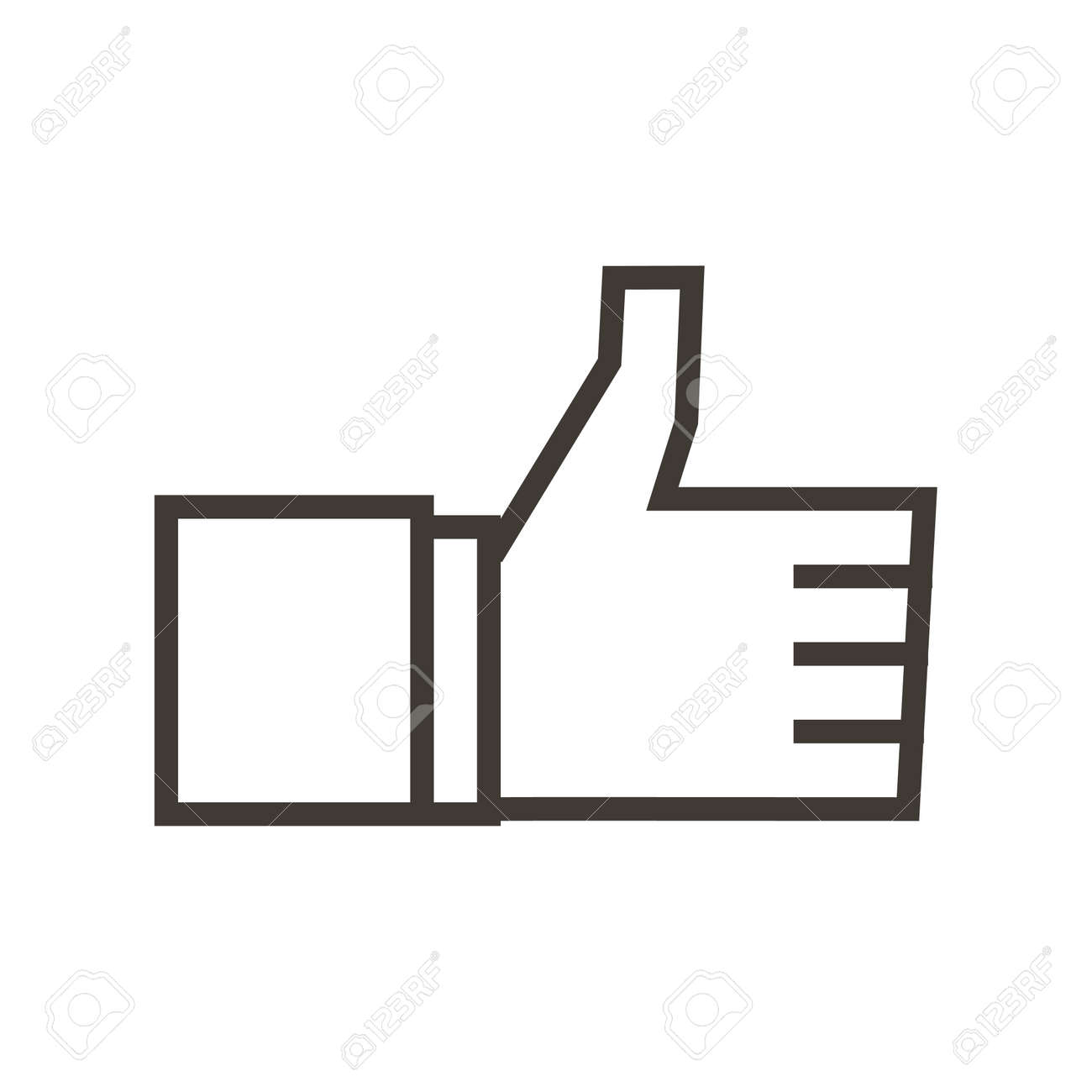 Cheerful thumbs up like symbol. Approval, certified vector trendy flat outline icon illustration design. Social media sign of approval and OK. - 158456487