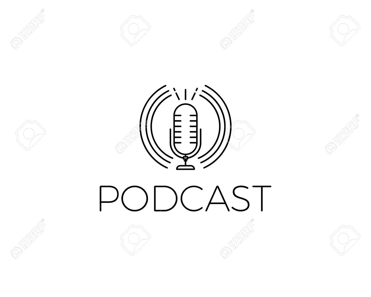 Podcast Icon. Vector illustration with microphone for concepts of music, conversations, online live shows, music and concerts. Thin line minimal graphic style - 158456508